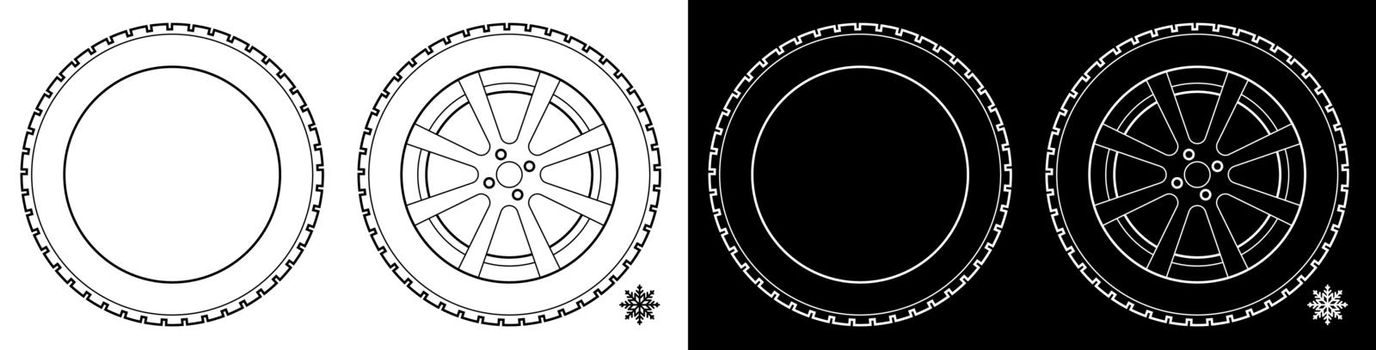 wheel with tire and winter rubber tread. Winter tires for the car. Driving on slippery road. Driving safety. Vector