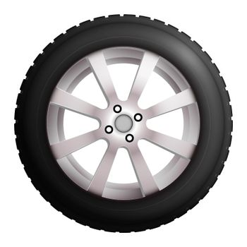 wheel with tire and winter rubber tread. Winter tires for the car. Driving on slippery road. Driving safety. Realistic vector