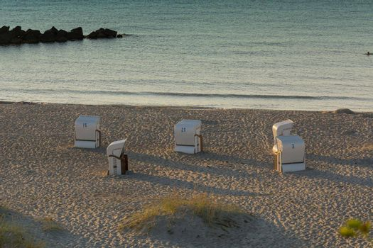 Beach chair on the Baltic Sea coast.