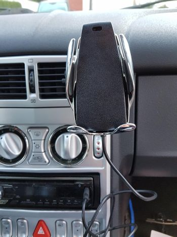 Car interior with cell phone holder