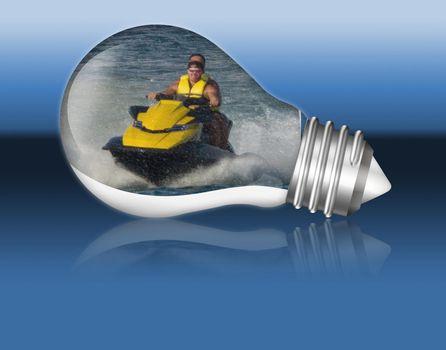 Jet ski in a lightbulb.