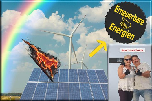 Sustainable green energy. Lettering in German for renewable energies and fuel cells.
