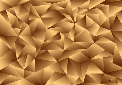 3D golden polygon background and texture. Low poly gold pattern. Elegant geometric template luxury style. Vector illustration