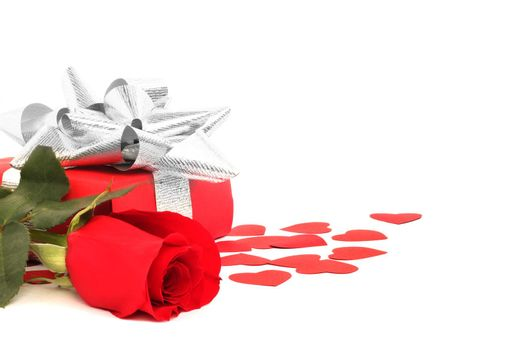 Rose, gift and hearts isolated on white background, Valentines day concept