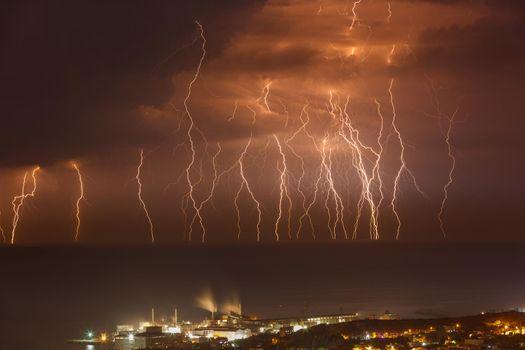 Dramatic Lightning over the Sea