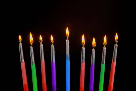 Religion Jewish Hanukkah symbol holiday for in hanukkiah Menorah with burned candles