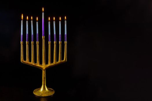 Hanukkah with hanukkiah menorah on nine candles traditional Jewish holiday