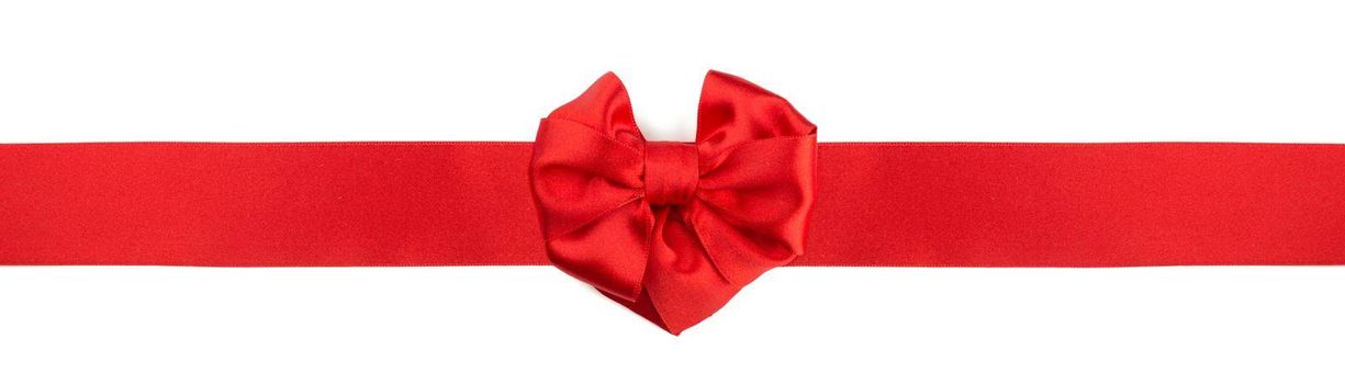 Red heart shape silk satin ribbon bow isolated in white background, love Valentine day concept