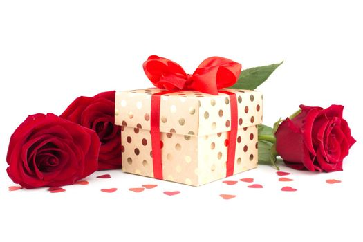 Valentine day gift box with red silk ribbon bow rose flowers and hearts isolated on white background love concept