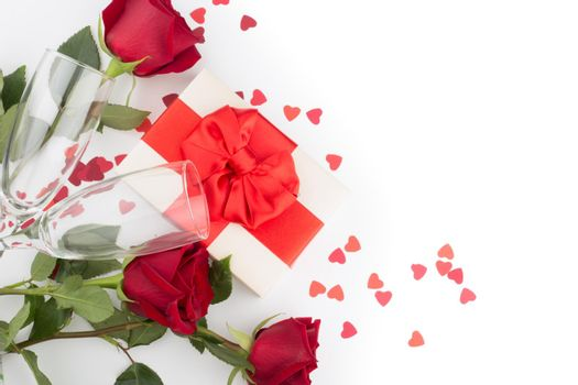 Valentine day gift rose flowers hearts and glasses on white romance love concept
