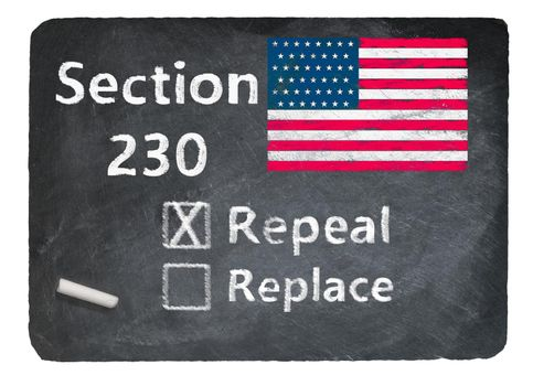 Chalkboard with Section 230 free speech law and question about repeal or replace