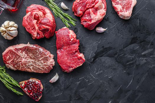 Alternative beef steak cuts with top blade, chuck roll and rump steak, top view with space for text.