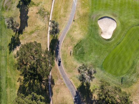 Aerial top view of golf, Rancho Bernardo, San Diego County, California. USA.