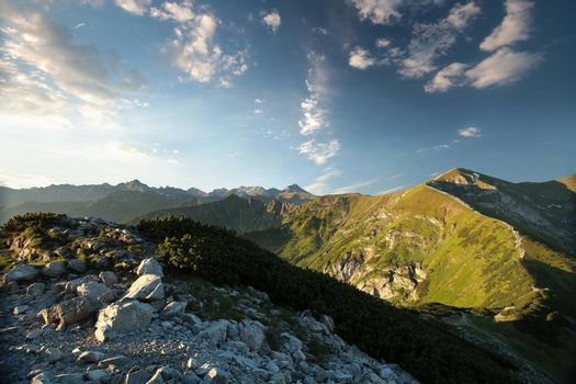 Peaks in the Carpathian Mountains at sunrise.