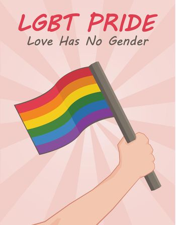 Lgbt pride background with hand holding a flag