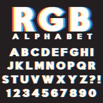 Letter alphabet CMYK RGB style