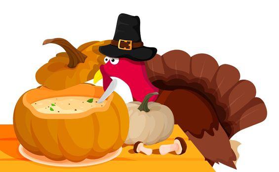 Pumpkin cream soup. Sly, wary turkey hid over pumpkin soup on festive table at animal farm. Turkey is main dish of Thanksgiving. Autumn harvest. Cartoon vector