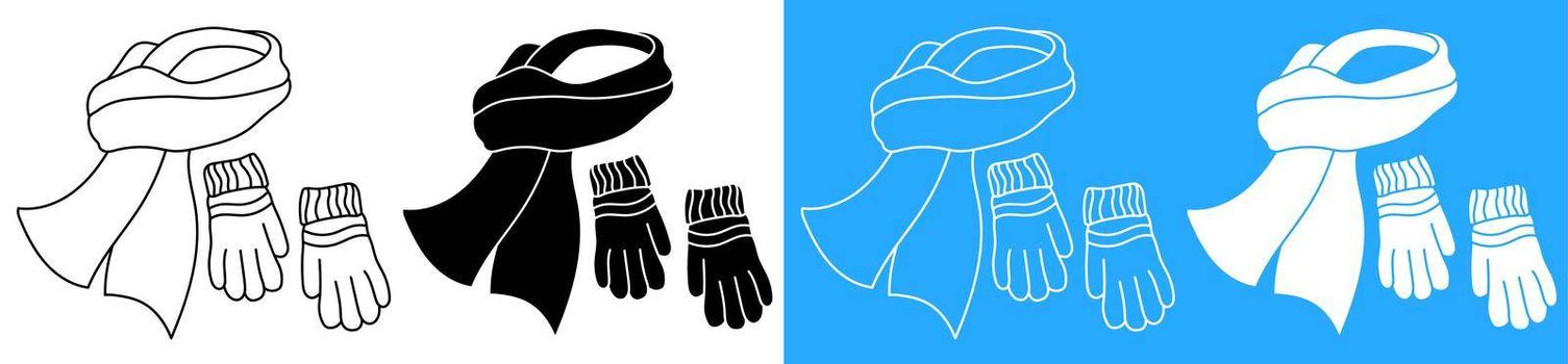 winter warm scarf and wool gloves. Winter clothing for cold weather. Caring for health of children. Vector icon
