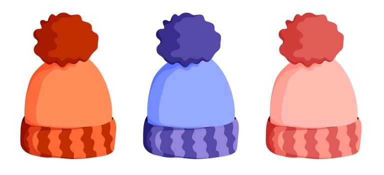 winter warm knitted wool hat. Winter clothing for cold weather. Caring for health of children. Cartoon color vector