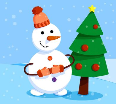 cheerful snowman stands in front of elegant New Year tree. Winter landscape and snowman. Meeting of Christmas and New Year. Winter fun. Cartoon vector