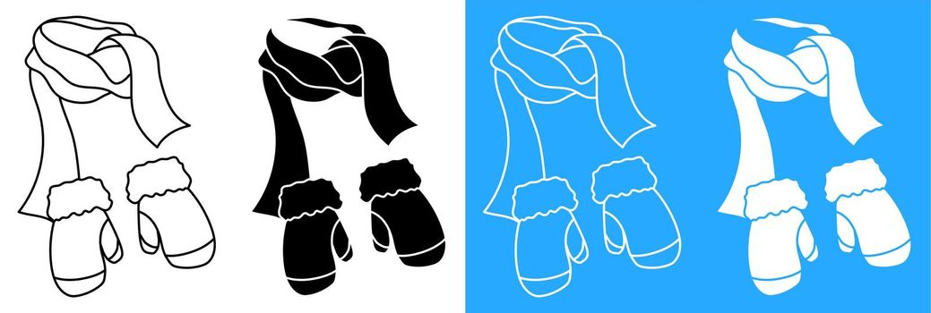 winter warm scarf and knitted wool mittens. Winter clothing for cold weather. Caring for health of children. Vector icon