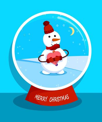 cheerful snowman stands in snow globe with heart in his hands. Marry christmas snowman. Meeting of Christmas and New Year. Winter fun. Cartoon vector