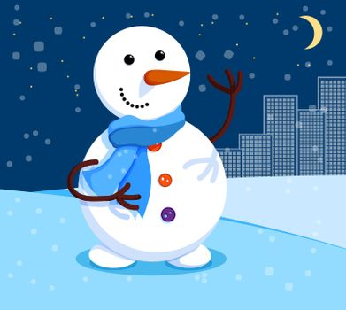 kind snowman stands at night under the moon. Winter cityscape and snowman. Meeting of Christmas and New Year. Winter fun. Cartoon vector