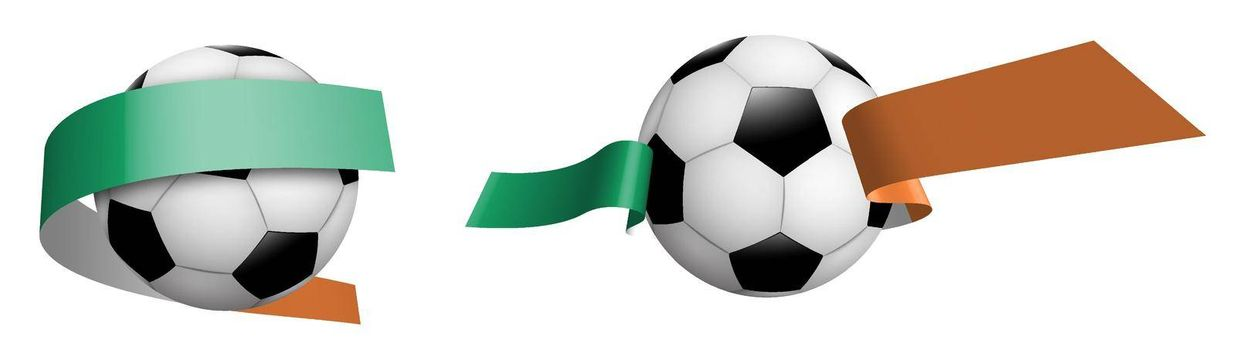 balls for soccer, classic football in ribbons with colors of Ireland flag. Design element for football competitions. Irish national team. Isolated vector on white background