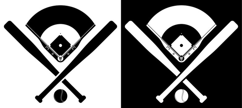 crossed sports baseball bats with ball and silhouette of baseball stadium. American national sport. Active lifestyle. Realistic vector