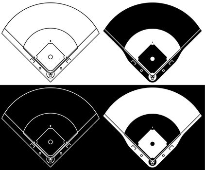 baseball field marking lines. team sports. Active lifestyle. American national sport. Vector