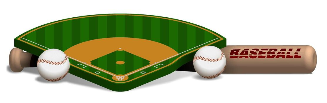 sports wooden baseball bat, balls and baseball field layout on white background. Sport design element, web banner for competitions. Realistic vector