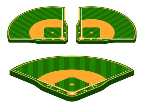 set of isometric green baseball fields with marking lines. Team sports. Active lifestyle. American national sport. Vector