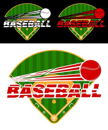 set of emblems with green baseball fields and flying ball. Team sports. Active lifestyle. American national sport. Vector