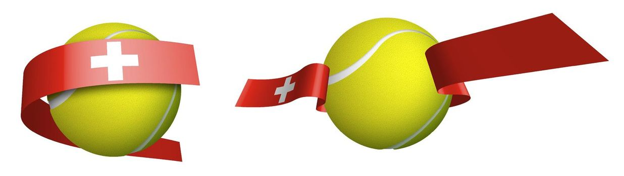 sports tennis ball in ribbons with colors Swiss flag. Rating of athletes in standings. World tennis competitions. Isolated vector on white background