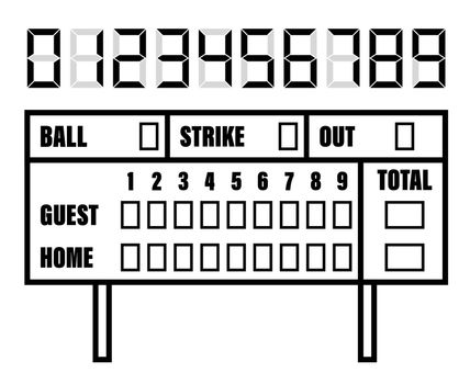 baseball scoreboard. Score on board during match on field. Team sports. Active lifestyle. American national sport. Vector