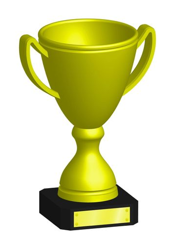 golden prize sports cup for participation in sports competitions. Award to winner of tournament. Vector