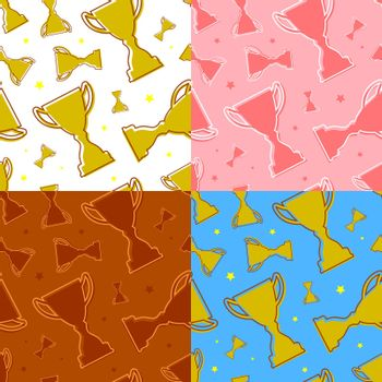 set of seamless patterns with prize sports cup and stars. Award to winner of tournament. Ornament for printing and decoration of sports competitions. Vector