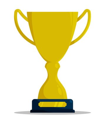 Prize sports cup for participation in sports competitions. Award to winner of tournament. Vector in flat style