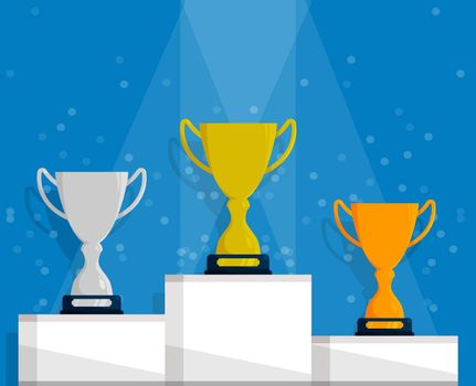 Prize sports cup for participation in sports competitions. Award to winner of tournament. Gold, silver and bronze cups on podium. Vector in flat style