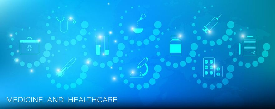 Medical healthcare icons on background of continents of planet. World health system, scientific discoveries in medicine, web header banner. Vector