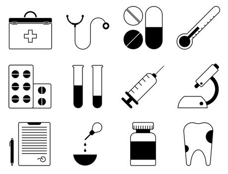 set of medical icons. First aid kit, stethoscope, pills, syringe, tooth, microscope, test tubes with analyzes, doctor conclusion. Vector