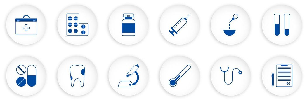 set of medical icons. First aid kit, stethoscope, pills, syringe, tooth, microscope, test tubes with analyzes, doctor conclusion. Vector in neomorph style on white background