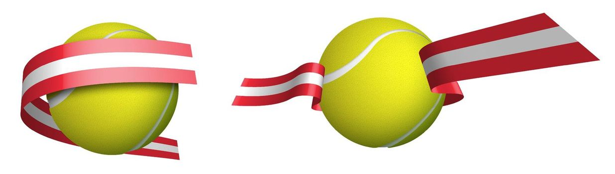 sports tennis ball in ribbons with colors Austrian flag. Rating of athletes in tennis. Isolated vector on white background