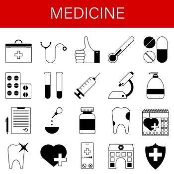set of medical icons. First aid kit, stethoscope, pills, syringe, tooth, microscope, test tubes, hospital, doctor conclusion. Vector