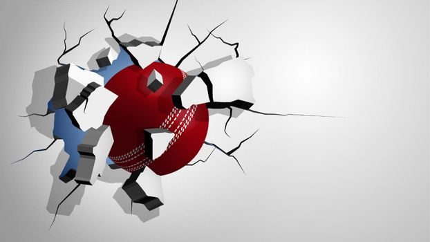 red cricket ball punched through the wall and breaks into shards, cracks on wall. Inflicting heavy damage. Vector