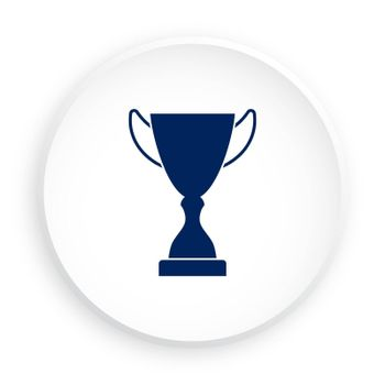 Prize icon in neomorphism style for mobile app. Sports cup for participation in sports competitions. Award to winner of tournament. Vector on white background