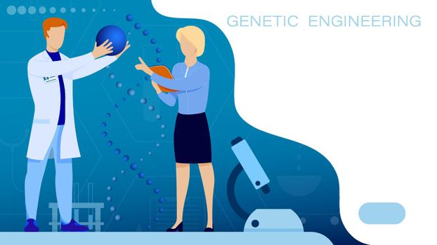 Research Institute. Medical scientists in white coat examines DNA spiral. Molecular engineer vector page. Laboratory scientist is conducting research experiment. Vector