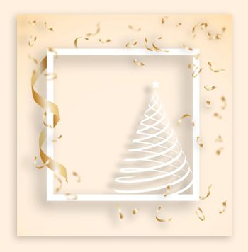 white Christmas frame with expensive gold confetti. Tinsel falls from above. Festive template for congratulations Merry Christmas, Happy New Year. Realistic vector