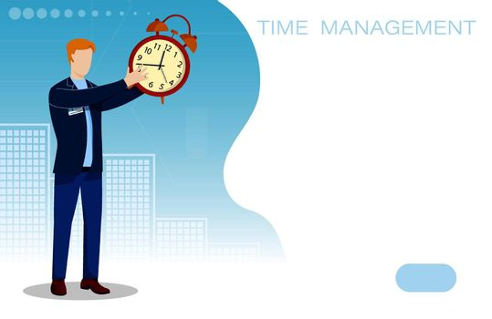 man holding alarm clock in his hands. Time management concept. Life of modern person in big city. Vector