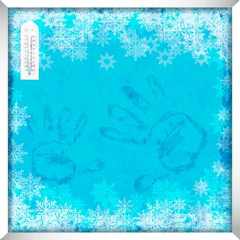 Winter window with frost effect on glass and handprints. Festive background for winter design. Background color in separate layer is easy to edit. Vector